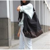 A4098 SAFFI™ Damska miejska torba worek na ramię. Bawełna skóra