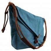 A408 TRIAN ™  Damska miejska torba na ramię. Bawełna i skóra naturalna