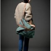 a02 'MESSENGER' Torba na ramię bawełna i skóra naturalna