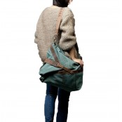 A422 MESSENGER™ Torba na ramię bawełna i skóra naturalna zielony