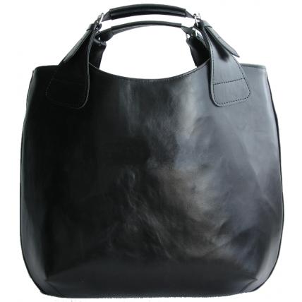 #2. ''SHOPPER II'' torebka damska, shopperka, skóra naturalna - czarna
